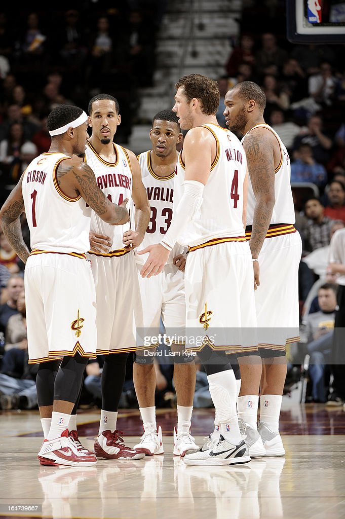 Daniel Gibson #1, Shaun Livingston #14, Alonzo Gee #33, Luke Walton #4 and Marreese Speights #15 of the Cleveland Cavaliers stand on the court during the game against the Indiana Pacers at The Quicken Loans Arena on March 18, 2013 in Cleveland, Ohio.