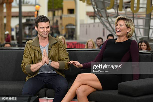Daniel Gillies and Charissa Thompson visit 'Extra' at Universal Studios Hollywood on January 19 2016 in Universal City California