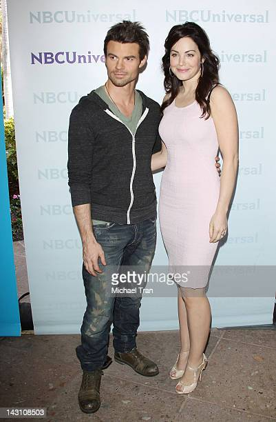 Daniel Gillies and Erica Durance arrive at the 2012 NBC Universal Summer press day hled at The Langham Huntington Hotel and Spa on April 18 2012 in...
