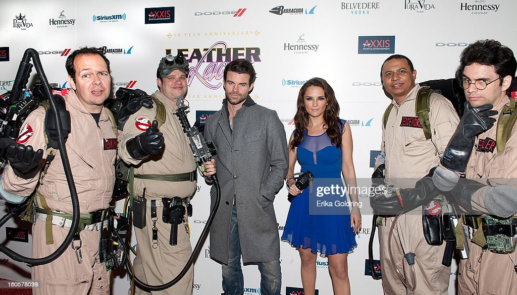 <a gi-track='captionPersonalityLinkClicked' href=/galleries/search?phrase=Daniel+Gillies&family=editorial&specificpeople=675058 ng-click='$event.stopPropagation()'>Daniel Gillies</a> and <a gi-track='captionPersonalityLinkClicked' href=/galleries/search?phrase=Rachael+Leigh+Cook&family=editorial&specificpeople=208121 ng-click='$event.stopPropagation()'>Rachael Leigh Cook</a> pose with Ghostbusters at the Tenth Annual Leather & Laces Super Bowl Party on February 2, 2013 in New Orleans, Louisiana.