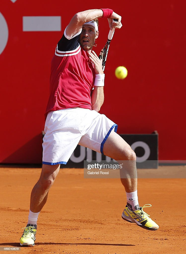 Daniel Gimeno Traver of Spain makes a shot during a tennis match between Nicolas Almagro and Daniel Gimeno Traver as part of ATP Buenos Aires Copa Claro on February 13, 2014 in Buenos Aires, Argentina.