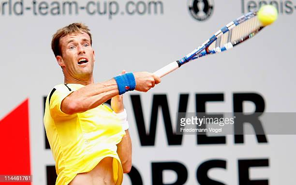 Daniel GimenoTraver of Spain plays a forehand during the red group match between Janko Tipsarevic of Serbia and Daniel GimenoTraver of Spain during...