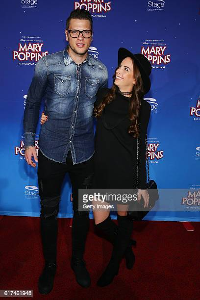 Daniel Ginczek and his girlfriend Wiebke attend the red carpet at the premiere of the Mary Poppins musical at Stage Apollo Theater on October 23 2016...