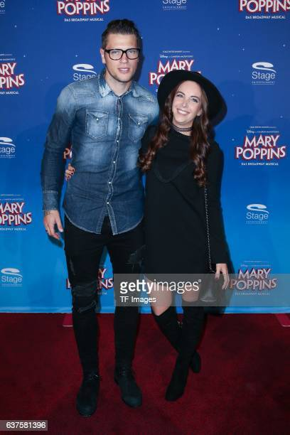 Daniel Ginczek and Wipke Ginczek attend the red carpet at the premiere of the Mary Poppins musical at Stage Apollo Theater on October 23 2016 in...
