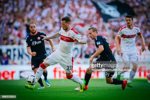 Daniel Ginczek fights for the ball with Tobias Schroeck of Wuerzburg during the Second Bundesliga match between VfB Stuttgart and FC Wuerzburger...