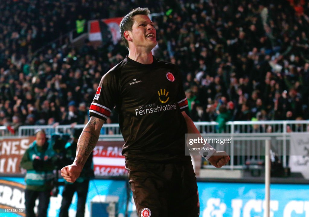 Daniel Ginczek of St. Pauli celebrates after scoring the opening goal of the Second Bundesliga match between 1. FC St. Pauli and FSV Frankfurt 1899 at Millerntor Stadium on February 22, 2013 in Hamburg, Germany.
