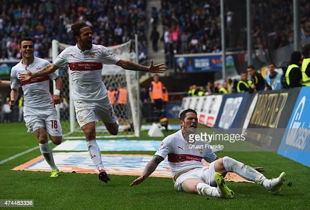 Daniel Ginczek of Stuttgart celebrates scoring his goal during the Bundesliga match between SC Paderborn 07 and VfB Stuttgart at Benteler Arena on...