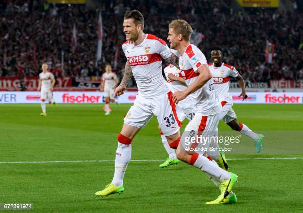 Daniel Ginczek of Stuttgart celebrates the third goal for his team with Simon Terodde of Stuttgart during the Second Bundesliga match between VfB...