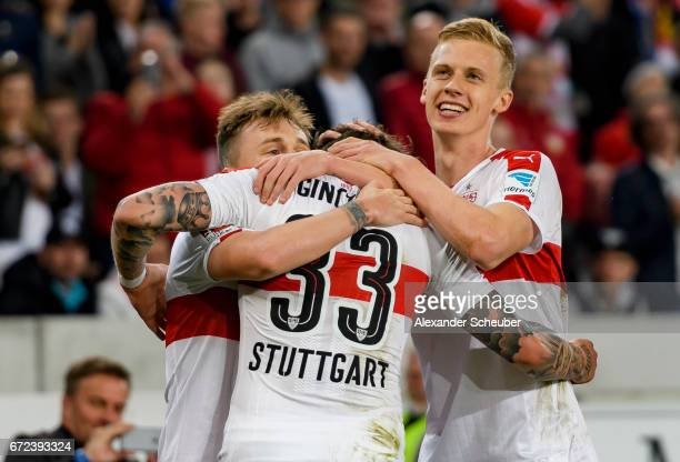Daniel Ginczek of Stuttgart celebrates the third goal for his team with his teammates during the Second Bundesliga match between VfB Stuttgart and 1...