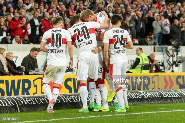 Daniel Ginczek of Stuttgart celebrates the third goal for his team during the Second Bundesliga match between VfB Stuttgart and 1 FC Union Berlin at...