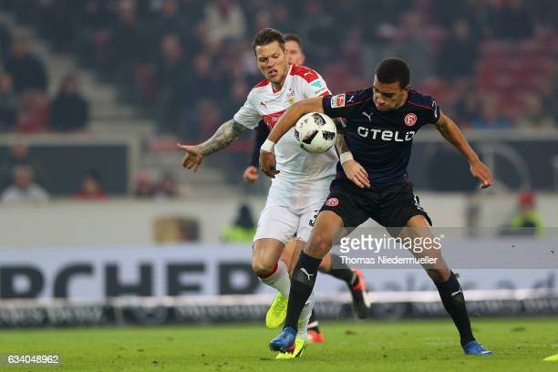 Daniel Ginczek of Stuttgart fights for the ball with Kevin Akpoguma of Duesseldorf during the Second Bundesliga match between VfB Stuttgart and...
