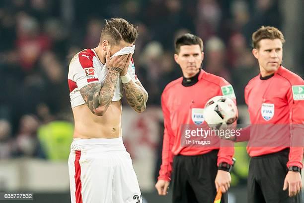 Daniel Ginczek of Stuttgart gestures during the Second Bundesliga match between VfB Stuttgart and Hannover 96 at MercedesBenz Arena on December 12...