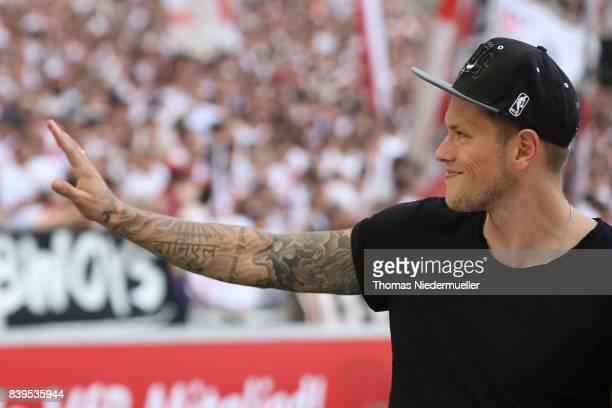Daniel Ginczek of Stuttgart is seen prior to the Bundesliga match between VfB Stuttgart and 1 FSV Mainz 05 at MercedesBenz Arena on August 26 2017 in...