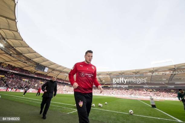 Daniel Ginczek of Stuttgart looks on during the Second Bundesliga match between VfB Stuttgart and SV Sandhausen at MercedesBenz Arena on February 12...
