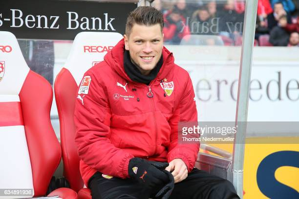 Daniel Ginczek of Stuttgart looks on prior to the Second Bundesliga match between VfB Stuttgart and SV Sandhausen at MercedesBenz Arena on February...