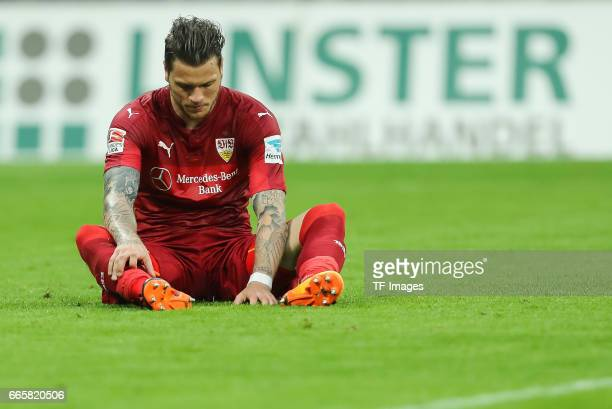 Daniel Ginczek of Stuttgart on the ground during the Second Bundesliga match between TSV 1860 Muenchen and VfB Stuttgart at Allianz Arena on April 5...