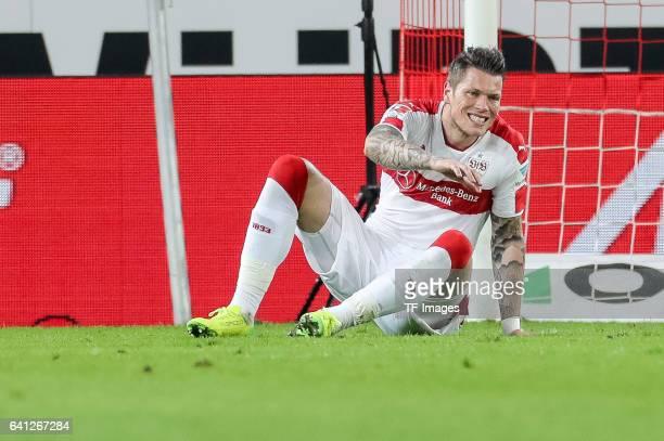 Daniel Ginczek of Suttgart looks on during the Second Bundesliga match between VfB Stuttgart and Fortuna Duesseldorf at MercedesBenz Arena on...