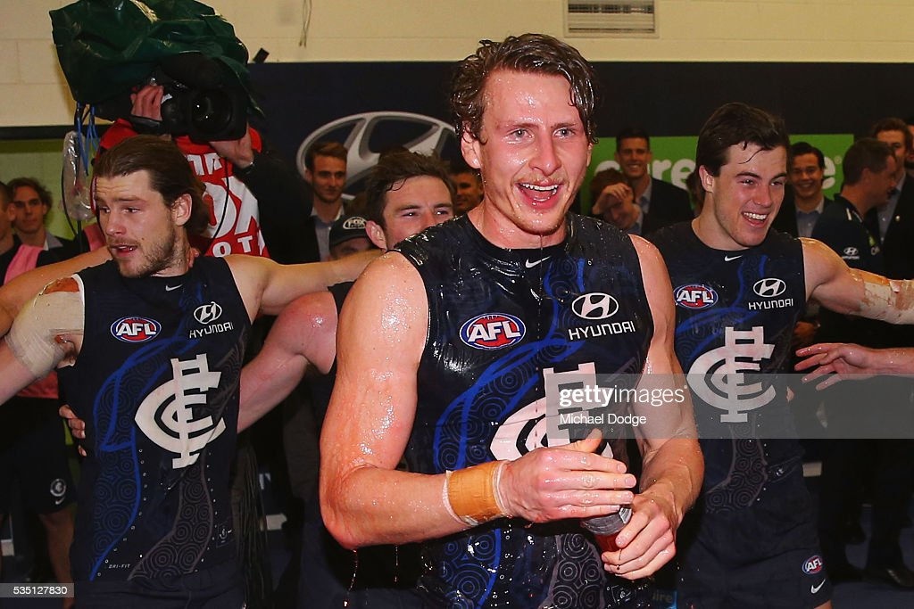 Daniel Gorringe of the Blues celebrates his first win with the club during the round 10 AFL match between the Carlton Blues and the Geelong Cats at Etihad Stadium on May 29, 2016 in Melbourne, Australia.