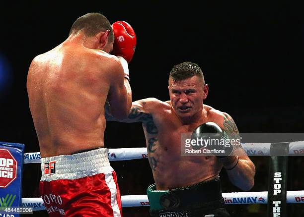 Daniel Green of Australia fights Roberto Bolonti of Argentina during the Cruiserweight bout at Hisense Arena on August 19 2015 in Melbourne Australia