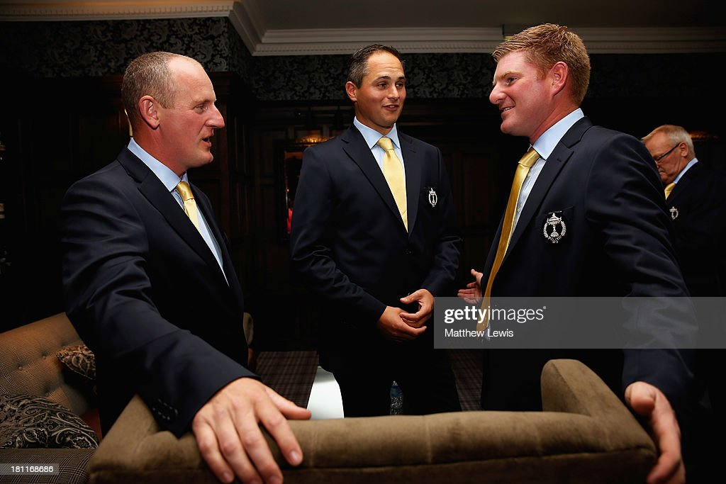 Daniel Greenwood, David Callaway and Gareth Wright of Great Britain and Ireland talk ahead of the opening ceremony ahead of the 26th PGA Cup at De Vere Slaley Hall on September 19, 2013 in Hexham, England.