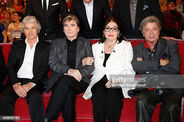 Daniel Guichard Serge Lama Nana Mouskouri and Herve Vilard attend the 'Vivement Dimanche' French TV Show at Pavillon Gabriel on November 26 2014 in...