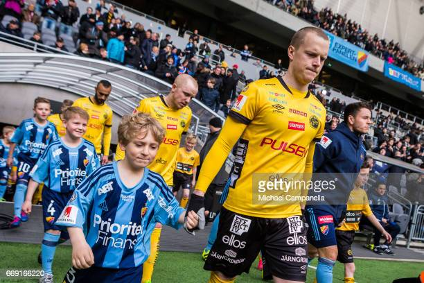 Daniel Gustavsson of IF Elfsborg enters the pitch before an Allsvenskan match between Djurgardens IF and IF Elfsborg at Tele2 Arena on April 16 2017...