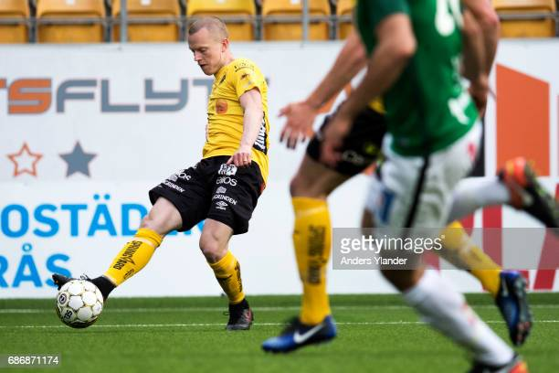 Daniel Gustavsson of IF Elfsborg shoots during the Allsvenskan match between IF Elfsborg and Jonkopings Sodra IF at Boras Arena on May 22 2017 in...
