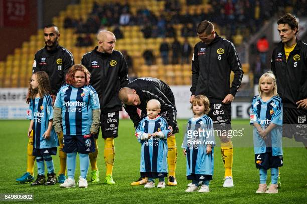 Daniel Gustavsson of IF Elfsborg talkes to his young kid from the children's hospital during the Allsvenskan match between IF Elfsborg and...