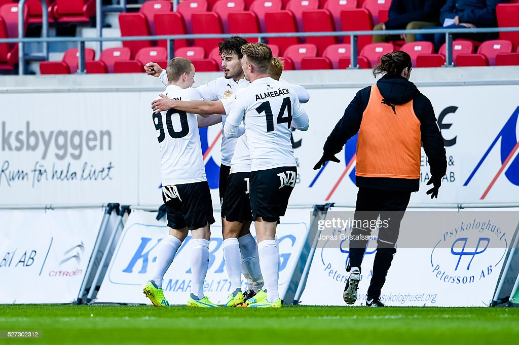 Daniel Gustavsson of Orebro SK scores the opening goal to Orebro SK during the Allsvenskan match between Kalmar FF and Orebro SK at Guldfageln Arena on May 2, 2016 in Kalmar, Sweden.