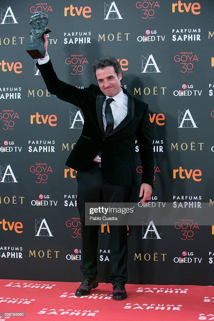 Daniel Guzman holds the award for best new director award during the 30th edition of the Goya Cinema Awards at Madrid Marriott Auditorium on February 6, 2016 in Madrid, Spain.