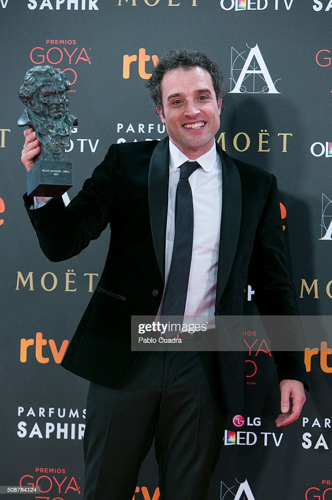 Daniel Guzman holds the award for best new director during the 30th edition of the Goya Cinema Awards at Madrid Marriott Auditorium on February 6, 2016 in Madrid, Spain.