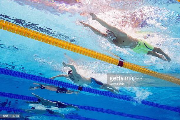 Daniel Gyurta of Hungary competes in the Men's 200m Breaststroke heats on day thirteen of the 16th FINA World Championships at the Kazan Arena on...