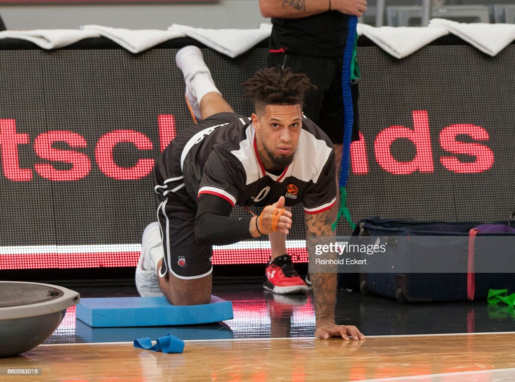 Daniel Hackett, #0 warm up prior the 2017/2018 Turkish Airlines EuroLeague Regular Season Round 1 game between Brose Bamberg v Maccabi Fox Tel Aviv at Brose Arena on October 12, 2017 in Bamberg, Germany.