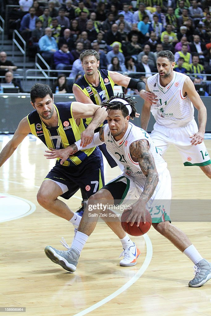 Daniel Hackett #23 of Montepaschi Siena competes with Omer Onan #7 of Fenerbahce Ulker during the 2012-2013 Turkish Airlines Euroleague Top 16 Date 2 between Fenerbahce Ulker Istanbul v Montepaschi Siena at Fenerbahce Ulker Sports Arena on January 4, 2013 in Istanbul, Turkey.