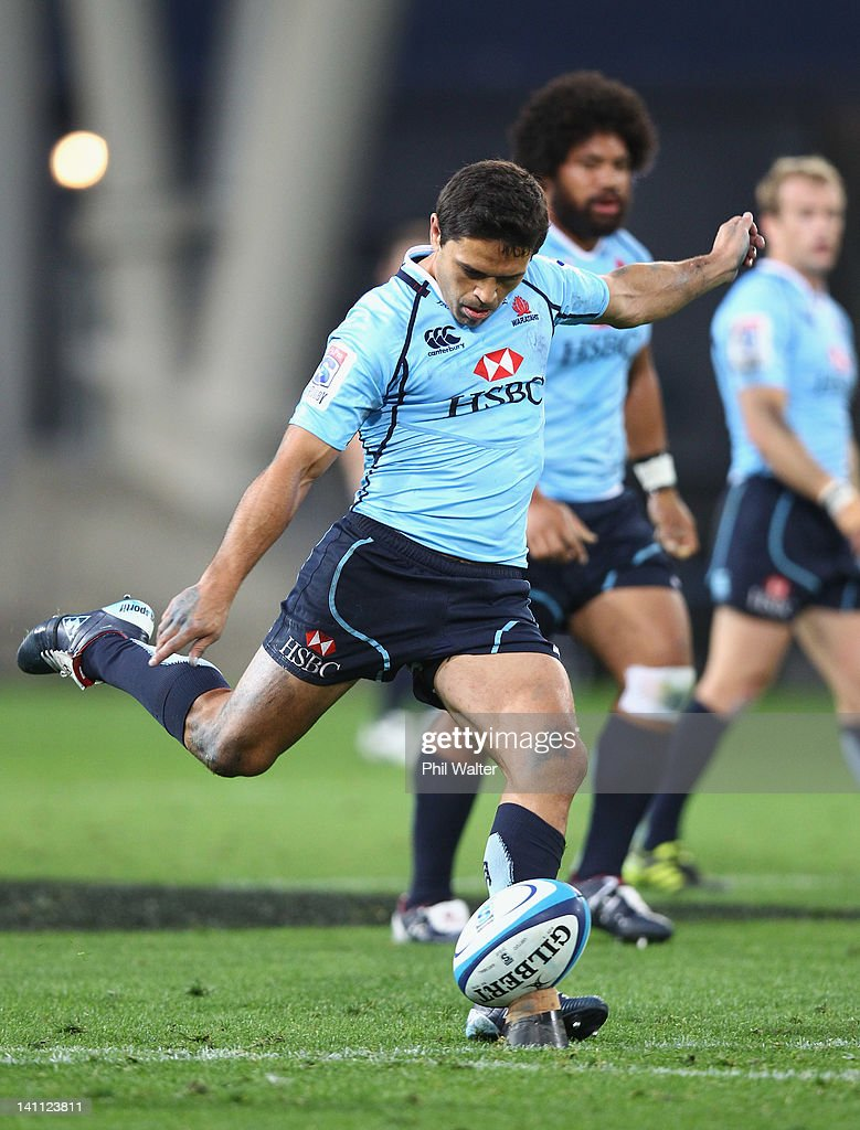 <a gi-track='captionPersonalityLinkClicked' href=/galleries/search?phrase=Daniel+Halangahu&family=editorial&specificpeople=599230 ng-click='$event.stopPropagation()'>Daniel Halangahu</a> of the Waratahs kicks during the round three Super Rugby match between the Highlanders and the Waratahs at Forsyth Barr Stadium on March 10, 2012 in Dunedin, New Zealand.