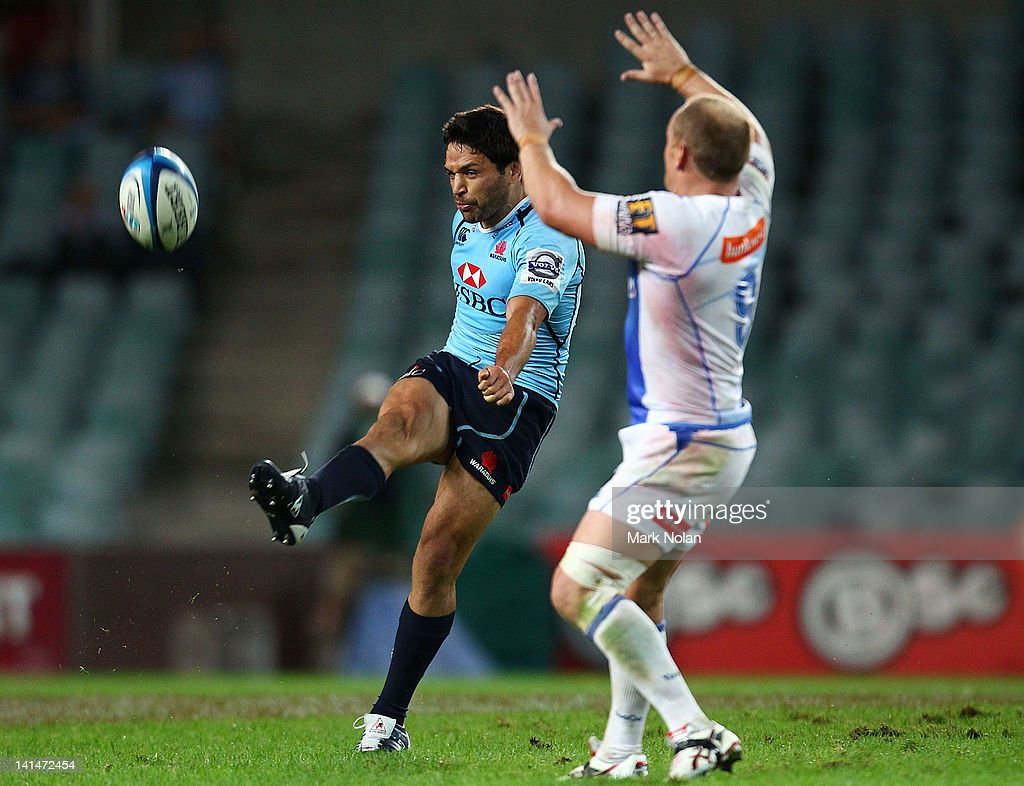 <a gi-track='captionPersonalityLinkClicked' href=/galleries/search?phrase=Daniel+Halangahu&family=editorial&specificpeople=599230 ng-click='$event.stopPropagation()'>Daniel Halangahu</a> of the Waratahs kicks the ball during the round four Super Rugby match between the Waratahs and the Force at Allianz Stadium on March 17, 2012 in Sydney, Australia.