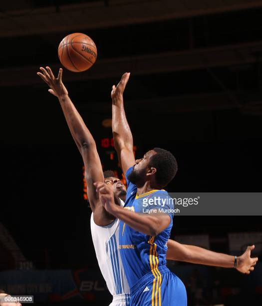 Daniel Hamilton of the Oklahoma City Blue shoots against James Sutherland of the Santa Cruz Warriors during the first round of an NBA DLeague playoff...