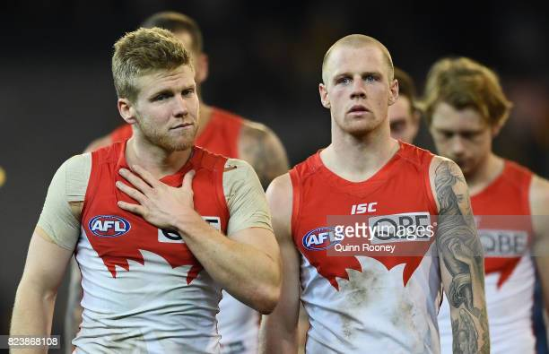Daniel Hannebery of the Swans looks dejected after losing the round 19 AFL match between the Hawthorn Hawks and the Sydney Swans at Melbourne Cricket...
