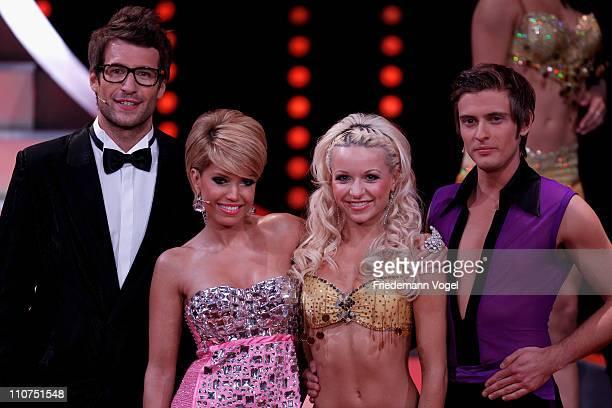 Daniel Hartwich Sylvie van der Vaart Helena Kaschurow and Joern Schloenvoigt pose during the 'Let's Dance' TV show at Coloneum on March 23 2011 in...