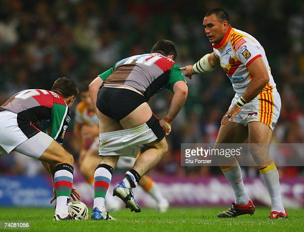 Daniel Heckenberg of Harlequins plays the ball with his shorts round his knees during the Engage Super League match between Catalans Dragons and...