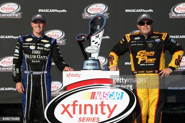 Daniel Hemric driver of the Blue Gate Bank Chevrolet and Brendan Gaughan driver of the South Point Hotel Casino Chevrolet pose for a photo...