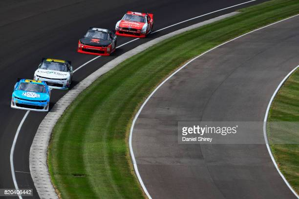 Daniel Hemric driver of the Blue Gate Bank Chevrolet leads a pack of cars during practice for the NASCAR XFINITY Series Lilly Diabetes 250 at...