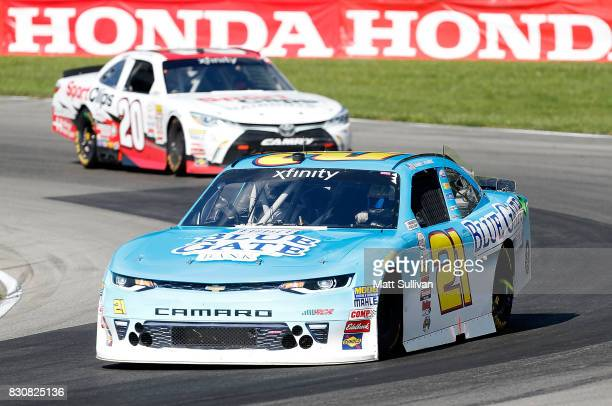 Daniel Hemric driver of the Blue Gate Bank Chevrolet leads a pack of cars during the NASCAR XFINITY Series MidOhio Challenge at MidOhio Sports Car...
