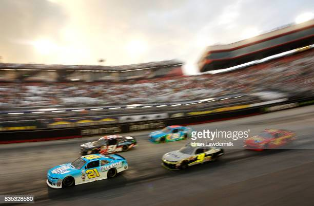 Daniel Hemric driver of the Blue Gate Bank Chevrolet leads a pack of cars during the NASCAR XFINITY Series Food City 300 at Bristol Motor Speedway on...