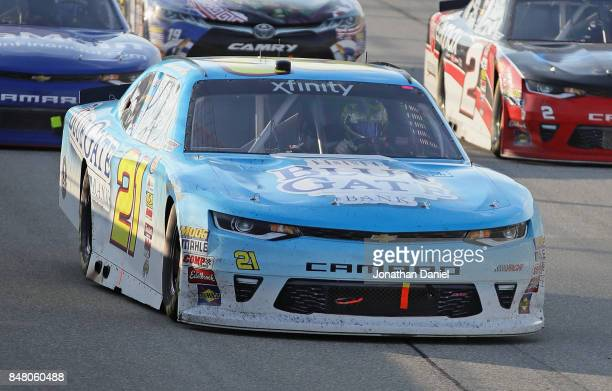Daniel Hemric driver of the Blue Gate Bank Chevrolet leads a pack of cars during the NASCAR XFINITY Series TheHousecom 300 at Chicagoland Speedway on...