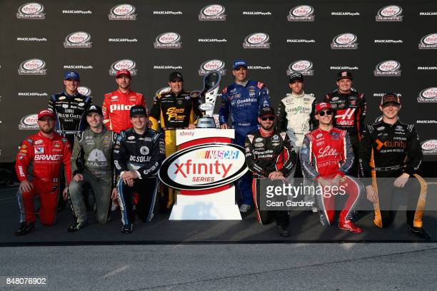 Daniel Hemric driver of the Blue Gate Bank Chevrolet Michael Annett driver of the Pilot Flying J Chevrolet Brendan Gaughan driver of the South Point...