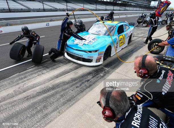 Daniel Hemric driver of the Blue Gate Bank Chevrolet pits during the NASCAR XFINITY Series Lilly Diabetes 250 at Indianapolis Motorspeedway on July...
