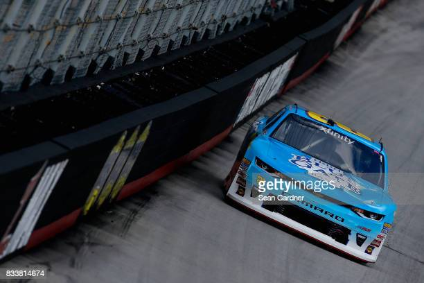 Daniel Hemric driver of the Blue Gate Bank Chevrolet practices for the NASCAR Xfinity Series Food City 300 at Bristol Motor Speedway on August 17...