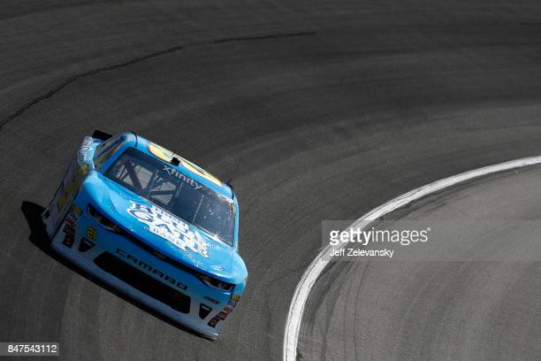 Daniel Hemric driver of the Blue Gate Bank Chevrolet practices for the NASCAR XFINITY Series TheHousecom 300 at Chicagoland Speedway on September 15...