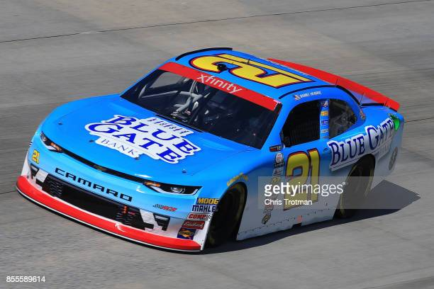 Daniel Hemric driver of the Blue Gate Bank Chevrolet practices for the NASCAR XFINITY Series 'Use Your Melon Drive Sober 200' at Dover International...